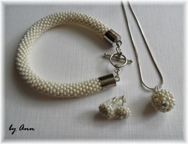 biżuteria ślubna dodatki ślubne kremowa śmietankowa z koralików