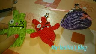 Monstruitos amigurimis y monedero con boquilla metálica, crochet, ganchillo