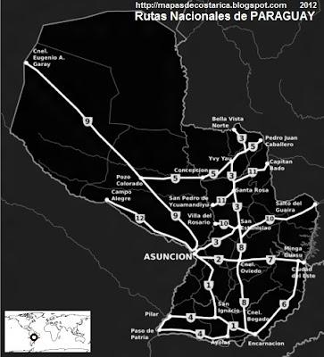 Rutas Nacionales del Paraguay. blanco y negro