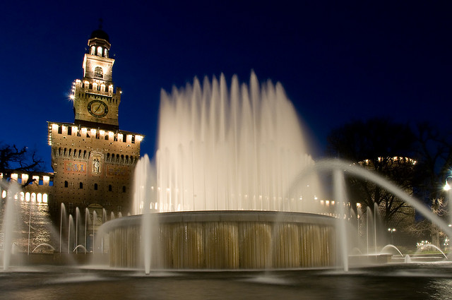 Nighttime at the Sforza Castle or Castello Sforzesco in Milan, Italy. Photo by Nick Grosoli.