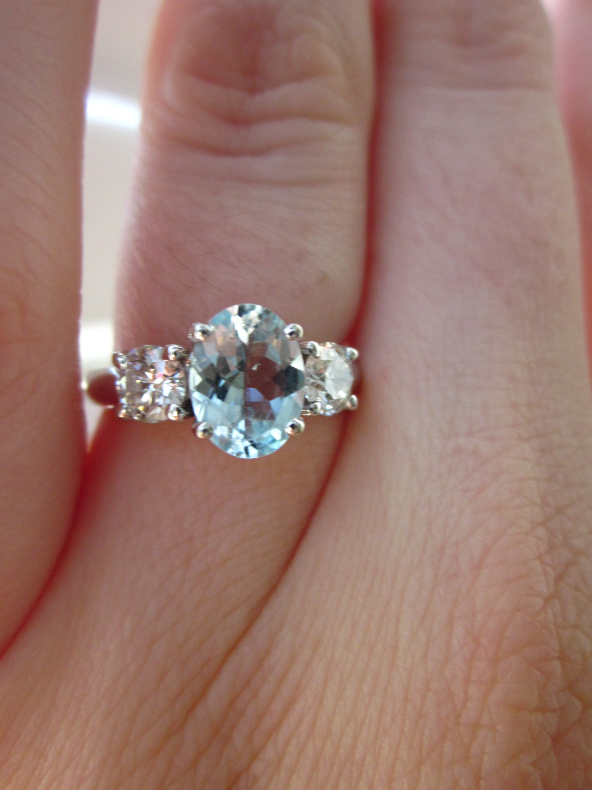 We Opted For An Oval Cut Pale Aquamarine Center Stone Flanked By Two Round  Diamonds Honestly, I Don't Have The Exact Details On The Stones Because So  Seems