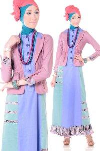 Esme Gamis E-010612 - Pastel Pink Biru (Toko Jilbab dan Busana Muslimah Terbaru)
