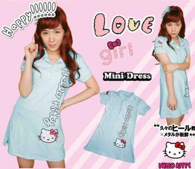 Jual Mini Dress Kitty Baby Blue Couple Online Murah di Jakarta Lengan Pendek Trendy