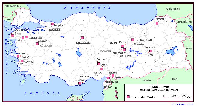 T�rkiye Demir Madeni Yataklar� Haritas�