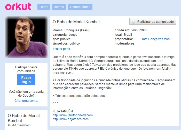 comunidade orkut o bobo do mortal kombat