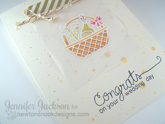 Spring Basket Wedding Card by Jennifer Jackson | Basket of Wishes Stamp set by Newton's Nook Designs