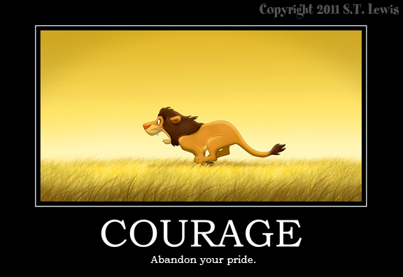 Courage Inspirational Quote Lion