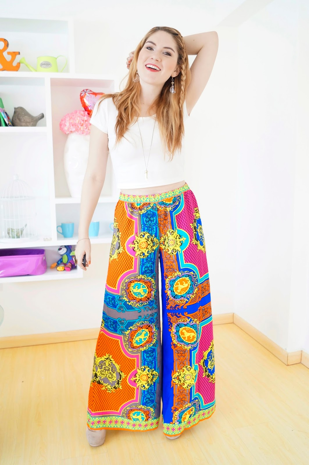 Pair your old Palazzo pants with a crop top to look more modern and up to date!