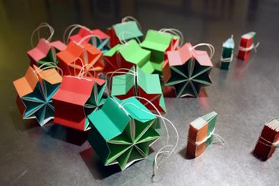 Handmade ornament books by bookbinder Katie Gonzalez in Nashville