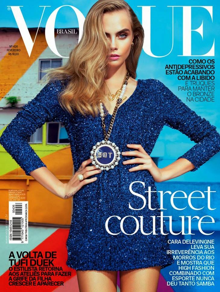 Magazine Cover : Cara Delevingne Magazine Photoshoot Pics on Vogue Magazine Brazil February 2014 Issue