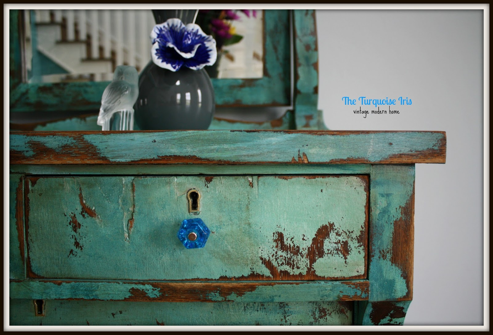 Turquoise Heavily Distressed Antique Dresser
