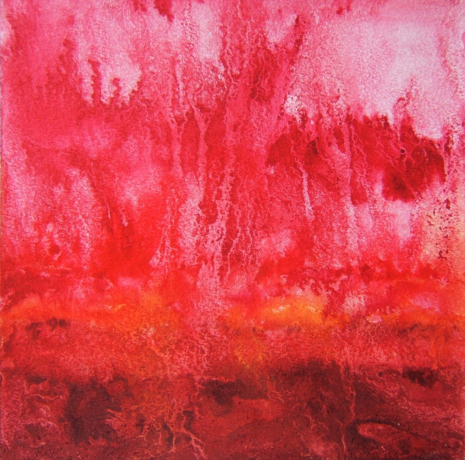 """Waiting"" 7""x 7"" watercolor on paper, © 2008 Tina M Welter #1 Pearl Series  Red roots reaching into the ground of ideas."