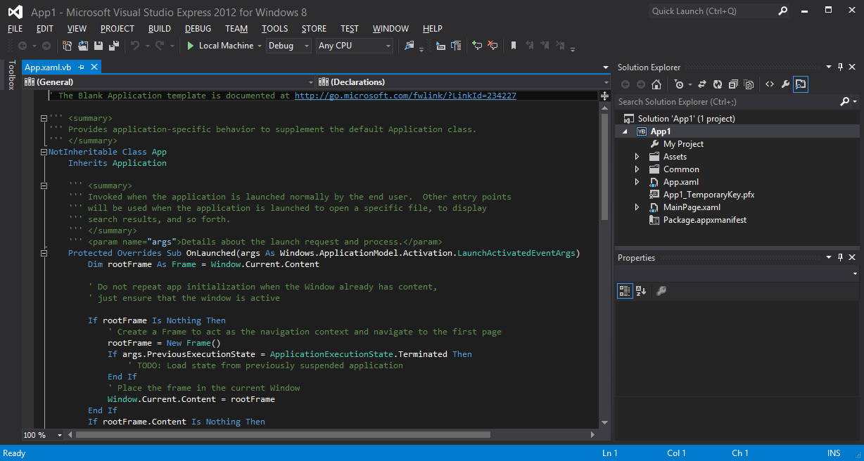 Microsoft Visual Studio Express 2012 for Windows 8 black