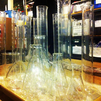 lab glassware center piece wedding
