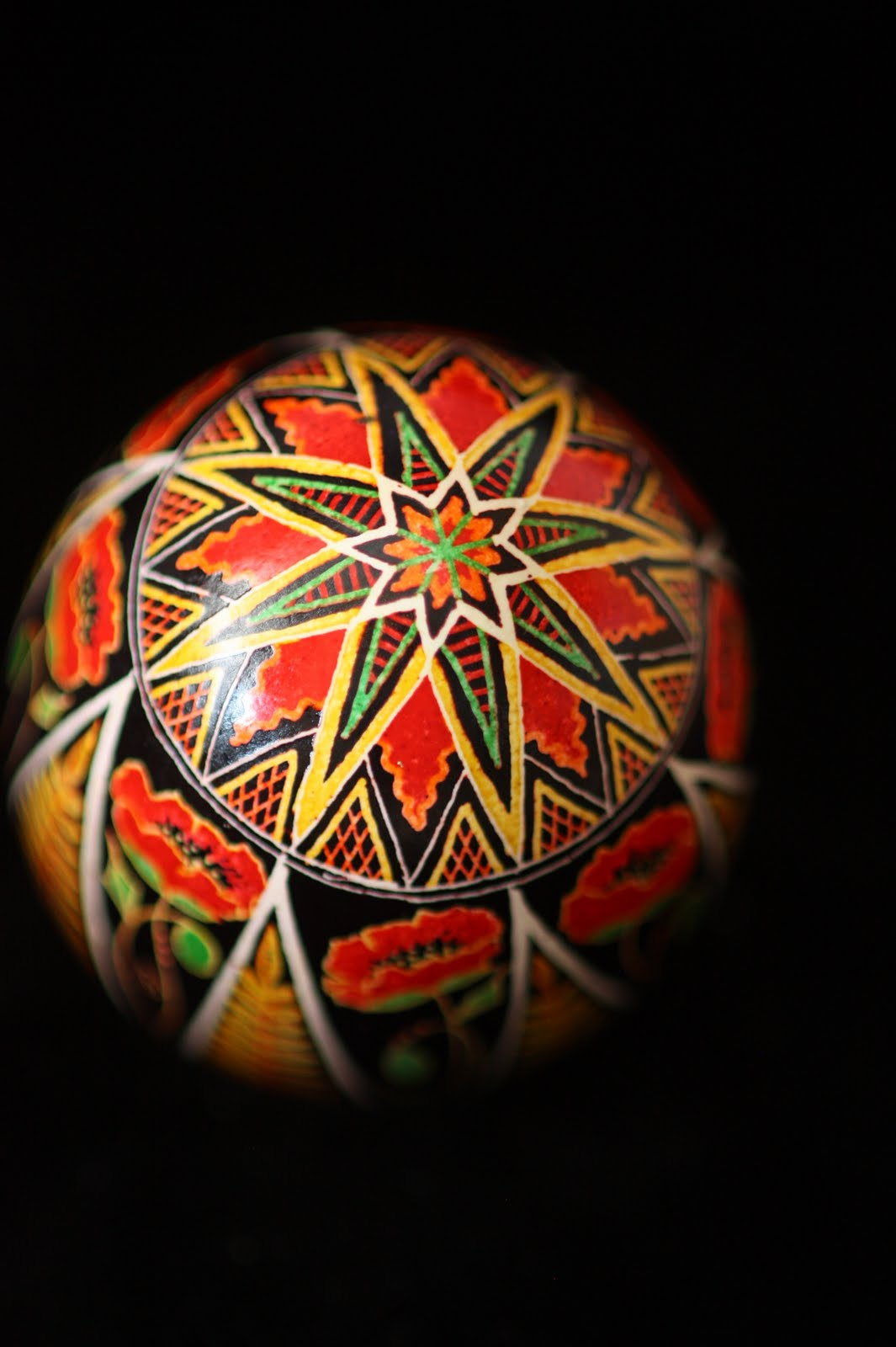 Eight Poppies in Triangles Traditional Pysanky Design in Scarlet, Gold, Green and Black