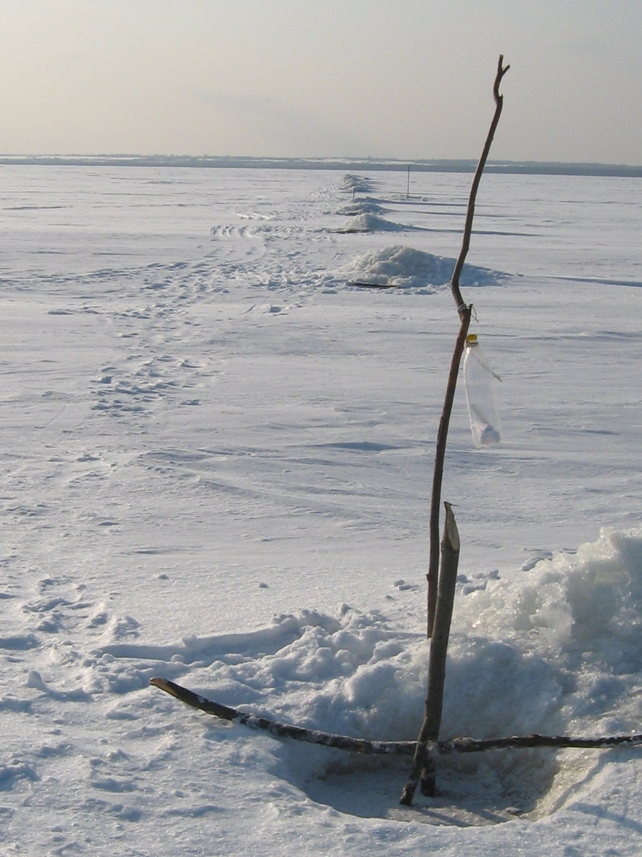 Рыбацкая сеть зимой
