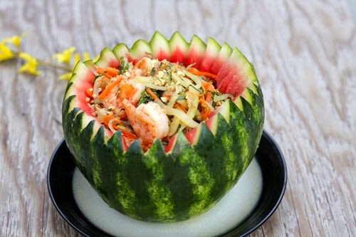 Salad Watermelon with Shrimps - Nộm Dưa Hấu với Tôm