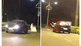 Buat Lelucon Hantu di Jalan, Pria Ini Ditabrak Mobil