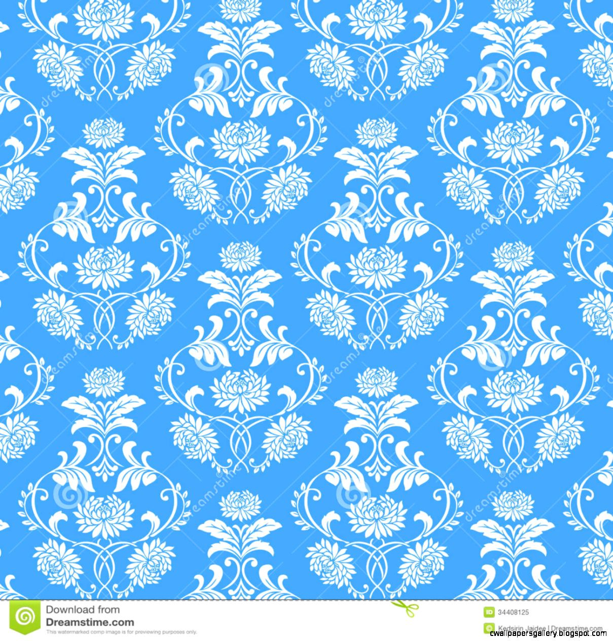 Seamless White Flower Pattern On Blue Background Royalty Free