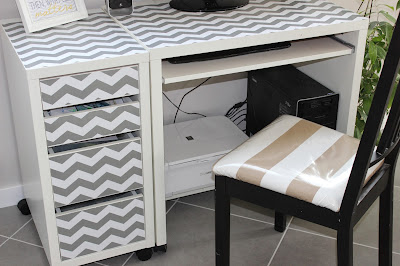 desk makeover using gray and white chevron shelf liner paper