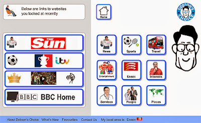 A screen-shot of Dobson's Choice accessible browser: A man with glasses, black hair and a smiley face next to a range of media icons, including News, Sports, Travel, Entertainment, Essex, Interests, Services, People and Places. Recent websites are diplayed on the left, including The Sun, ITV and the BBC.