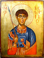 Sfantul  mucenic Gheorghe, icoana pictata pe lemn