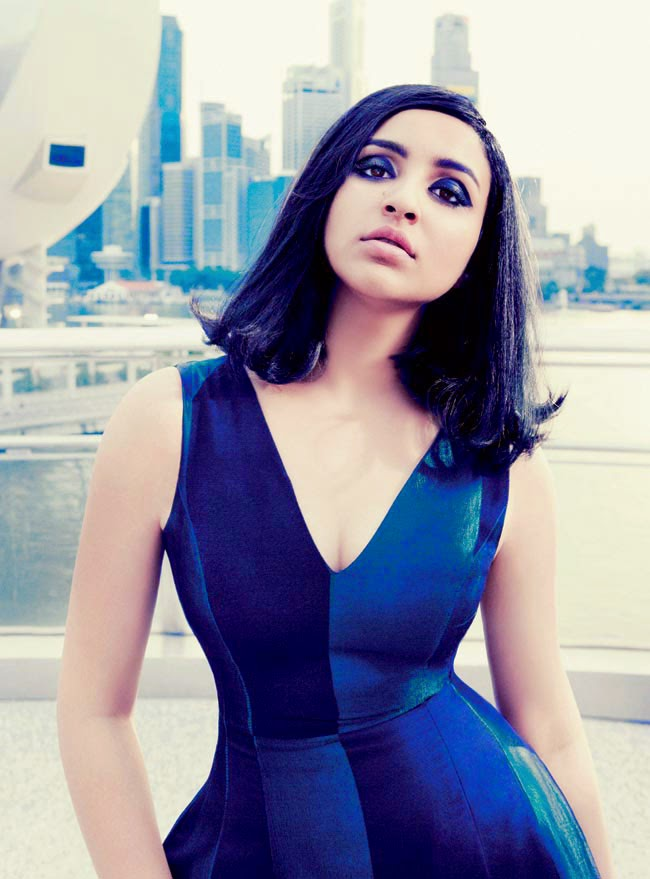 Parineeti Chopra in Tight blue dress in Harpers Bazaar Magazine Photoshoot