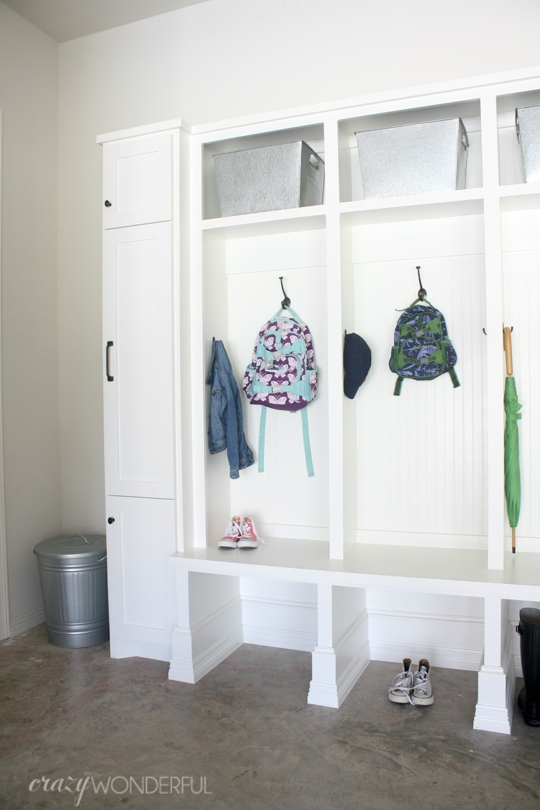 Garage mudroom reveal crazy wonderful for Garage mudroom