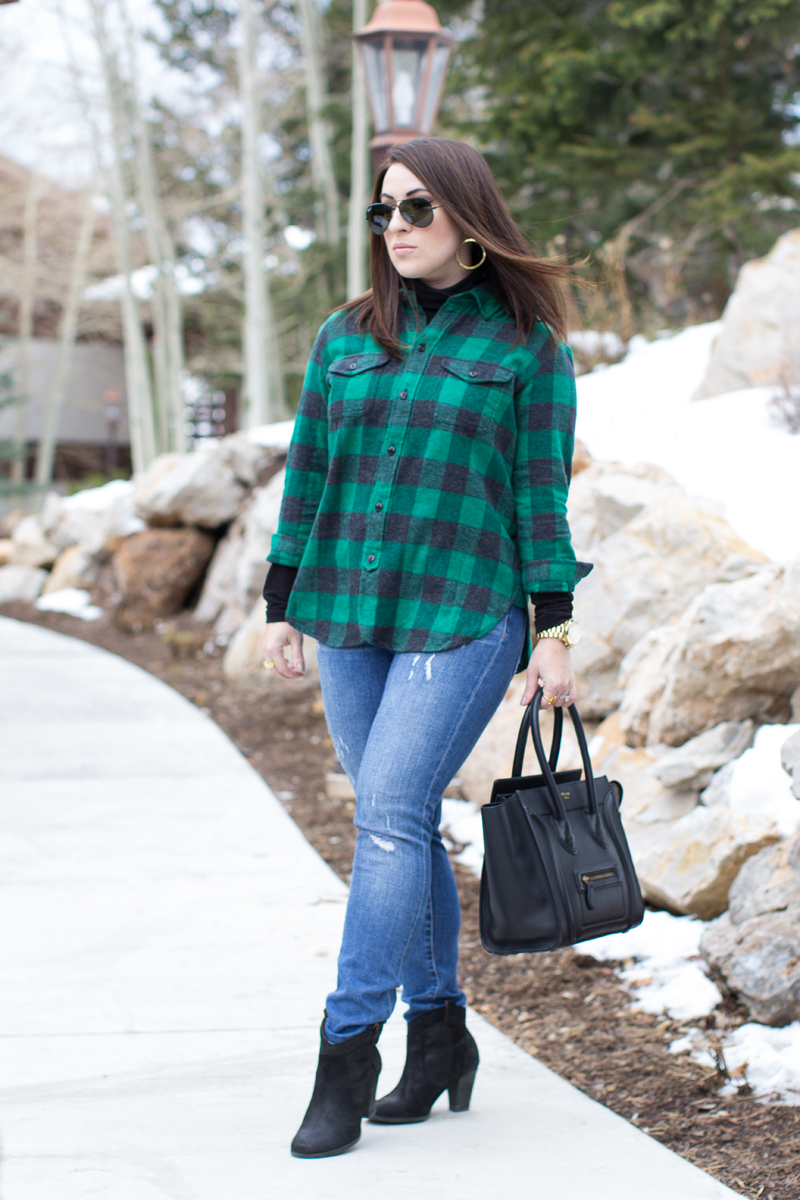 black suede booties, celine bag, green buffalo plaid top, ray ban aviators, gorjana hoop earrings