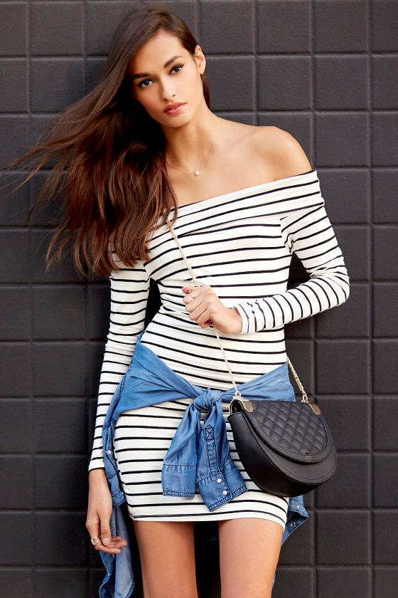 Black and Ivory Striped Off-the-Shoulder Dress
