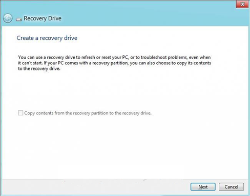 "uncheck the option ""Copy the recovery partition from the PC to the recovery drive"" and click NEXT"