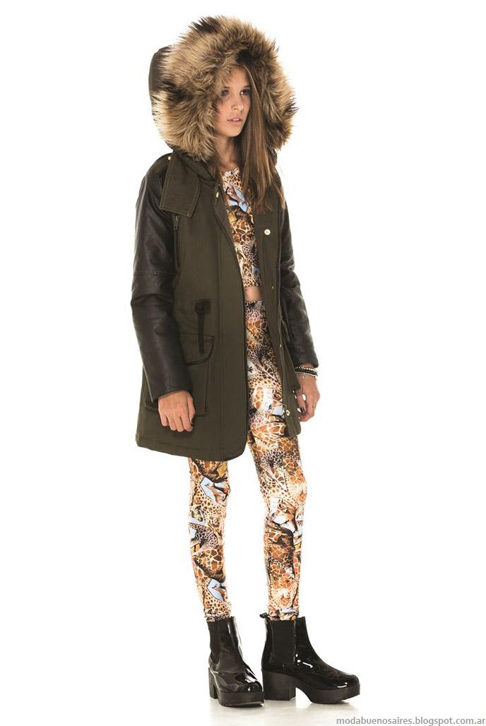 Camperas 2015 con capuchas de piel otoño invierno 2015 Ona Saez Kids.