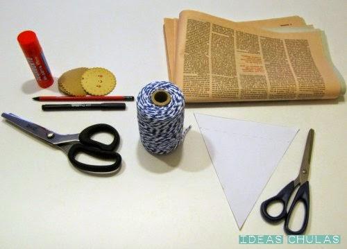 Materiales para hacer la guirnalda de papel para la Castanyada