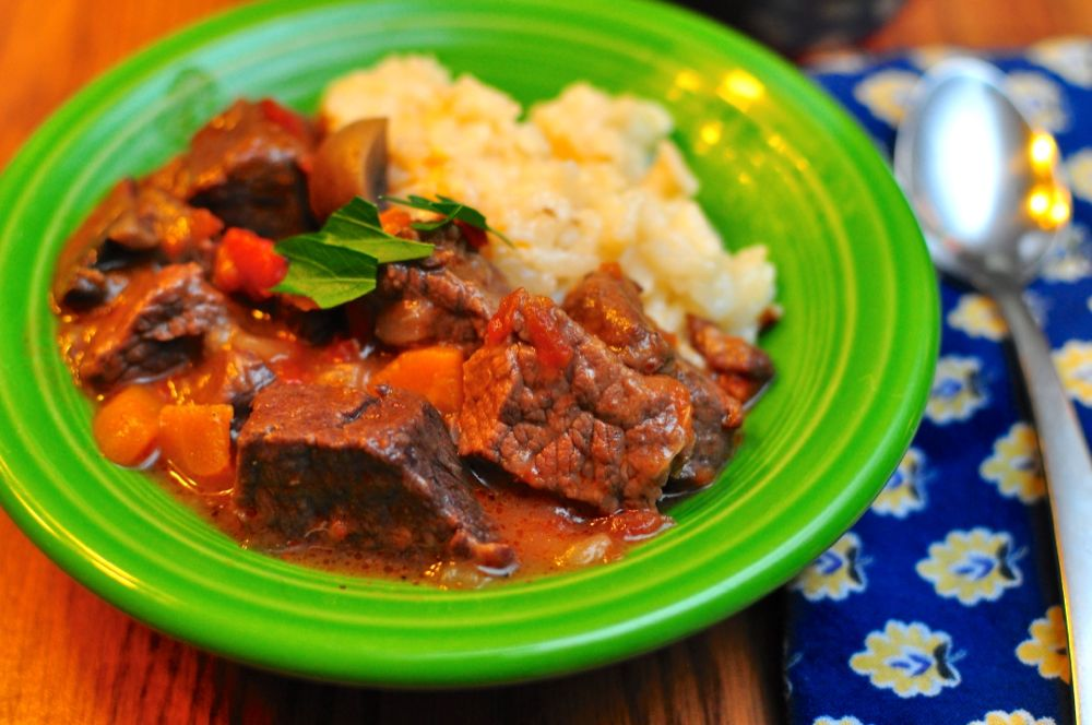 Pressure Cooker Beef Stew with Mushrooms - Dad Cooks Dinner
