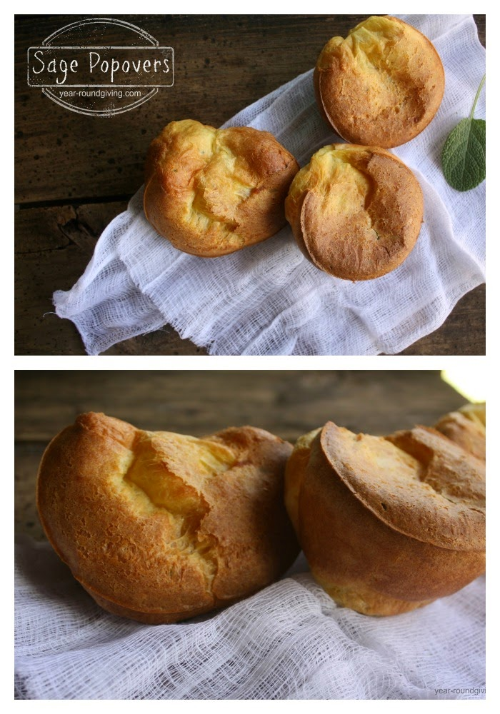 Sage Popovers - Easy Recipe and you don't need one of those fancy Popover tins.