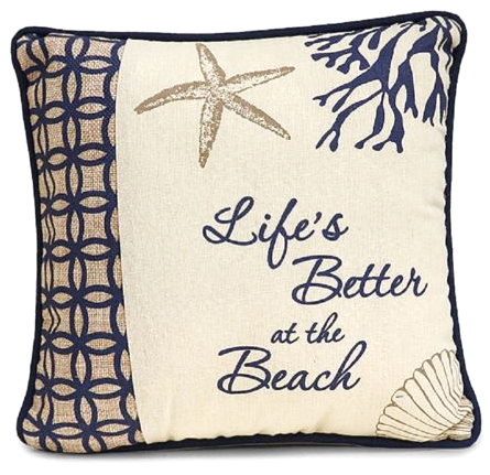 Blue Life's Better at the Beach Pillow
