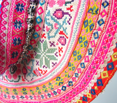 ByHaafner, embroidery, vintage, Laos, collar, cross stitch, birds and flowers pattern, travel, close up