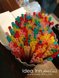 birthday party colored straws