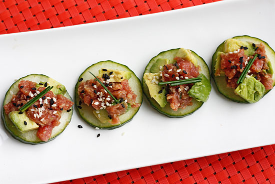 Spicy Scallop Tartare In Cucumber Cups Recipe — Dishmaps