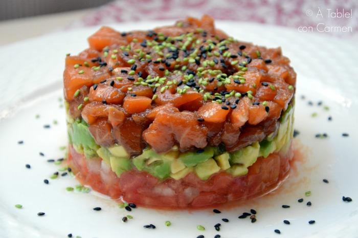 Tartar de salm n y aguacate con s samo table con carmen - Ensalada de aguacate y salmon ahumado ...