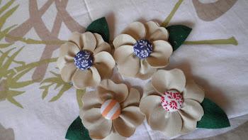 Flor em Couro e botão forrado
