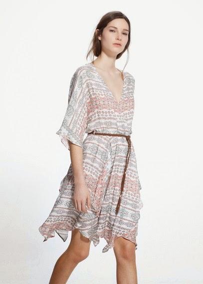 Mango 2015 Elbise Modelleri  desenli beyaz fırfırlı elbise, kısa elbise, diz üstü mango, yaza özel elbise, şık elbise