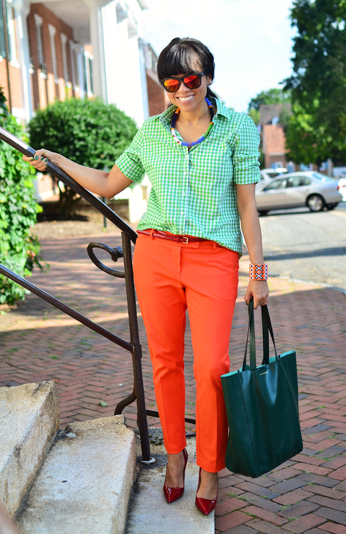 Green Gingham Shirt Orange Pants