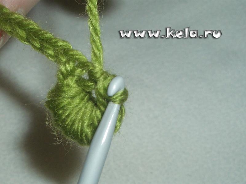 Мк вязание ажурного листочка с сеточкой с пико
