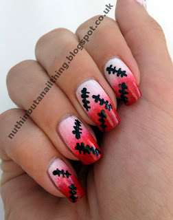 halloween blood splatter nail art