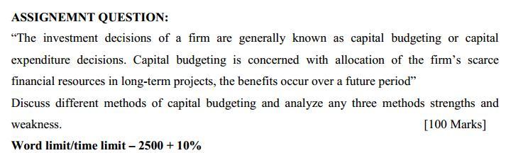 investment decision methods essay