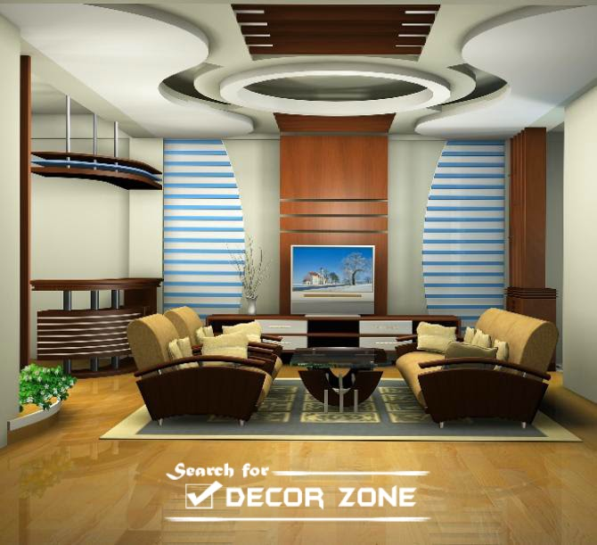tray ceiling design made of POP for living room. 25 Modern POP false ceiling designs for living room