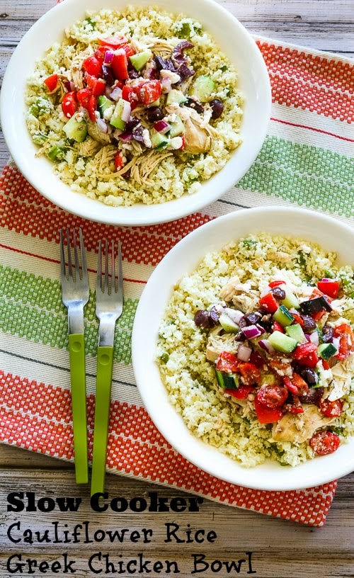 Slow Cooker Cauliflower Rice Greek Chicken Bowl (Low-Carb, Gluten-Free, Can Be Paleo) found on KalynsKitchen.com