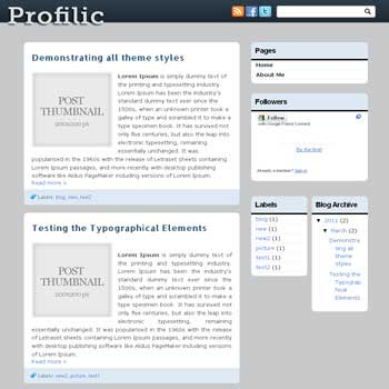 Profilic<br /> blogger template. 3 column blogger template