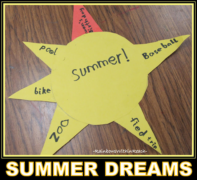 photo of: Summer Sunshine Writing Project: first grade bucket list for summer, written on sun rays